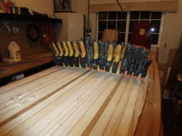 3/1/16 - The coaming is laminated out of many pieces of paulownia.