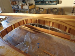 4/11/16 - The inside of the coaming wall is fiberglassed.
