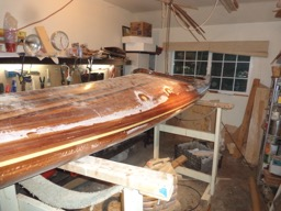 11/14/16 - The outside of the hull/deck joint is covered with fiberglass tape.