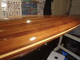 11/29/16 - Several coats of Awlwood varnish have been applied to the hull.