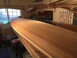 10/12/16 - The hull is sanded and ready for fiberglass.