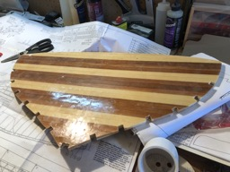 11/10/17 - The transom is cut from the cedar strip lamination.