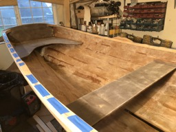 1/28/18 - The holes in the gunwales are closed with tape.