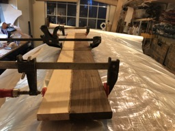 The centerboard is laminated out of ironwood and hemlock.
