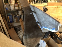 The gudgeons and pintles for the rudder are temporarily mounted.