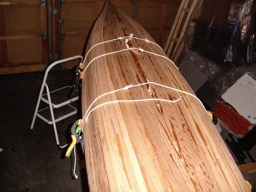 The final strip is placed in the hull.