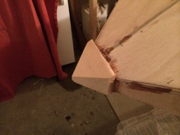 View of the nose block glued in place.