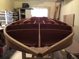 View of the bow. The very tip of the bow will be shaped when the deck is attached.