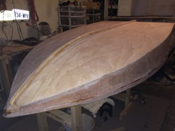 The hull is sanded and ready for paint.