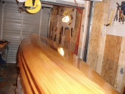 11/3/07 - Two fill coats of epoxy were applied to the hull today.  This view is from the stern looking forward.