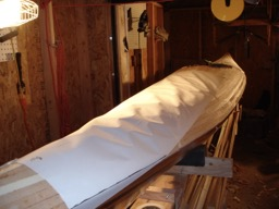The shape of the deck is transferred to large sheets of paper.