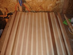 11/30/07 - A bunch of strips are glued together to make bulkheads.