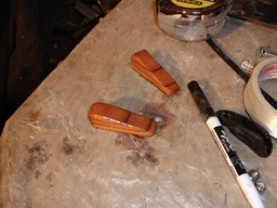 12/9/07 - The rudder cable exits are built and shaped.