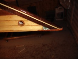 12/31/07 - The bow inlay shines nicely under the varnish.