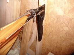 The rudder is mounted and the cables are attached.