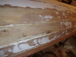 A large crack in the hull that needed to be repaired.