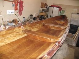 The varnish had flaked off of much of the interior.  Some of the wood was permanently water stained.