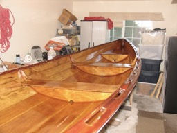 The interior is complete.  The discolored sections are still visible, but on the whole, the boat looks much better.