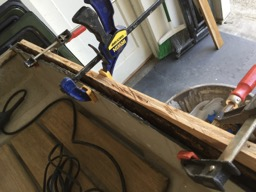 The transom had rotted out and was filled with thickened epoxy.