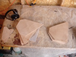 The bulk heads are rough cut from the ply.