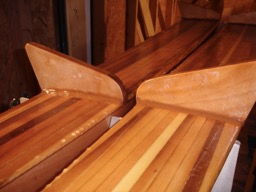 8/18/08 - The bulkheads are reinforced with epoxy fillets.  This completes the construction of the amas. I only have to sand and varnish them.